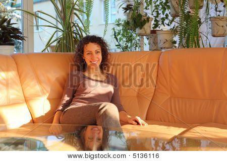 Young Woman On Sofa