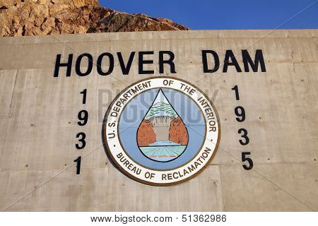 Hoover Dam Sign In Boulder City, Nv On May 13, 2013