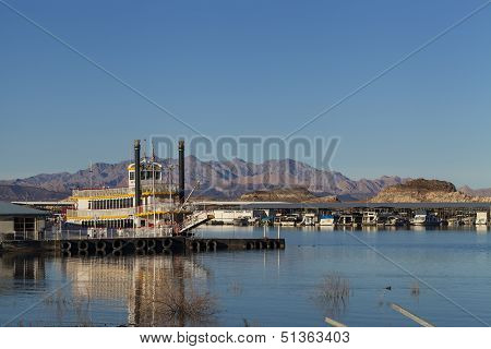 An Old Fashion Paddle Boat At Lake Mead In Boulder City, Nv On January 30, 2013