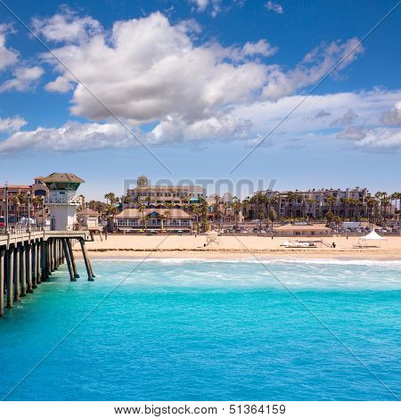 Huntington beach Surf City USA pier view with lifeguard tower and city California