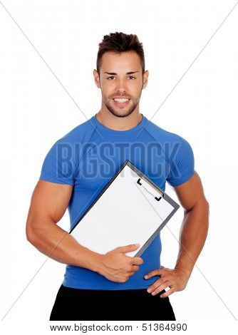 Handsome personal trainer with a clipboard isolated on a white background