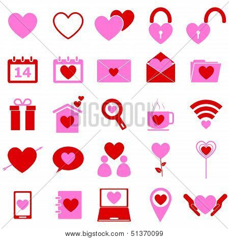 Love Color Icons On White Background