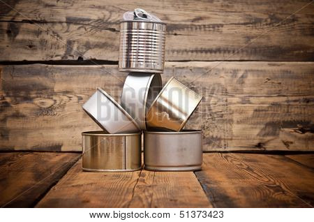 Used tin cans background