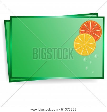 postal of green color with the image of lobules of orange and drops of water