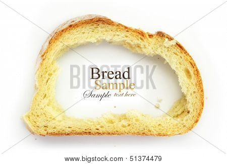 Slice of white bread with center missing, crust as frame for copy space, isolated on white