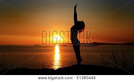 Silhouette of a young woman on a background of a sunset