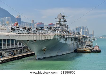 HONG KONG, CHINA - Sept 18:The U.S. amphibious assault ship USS Bonhomme Richard pulled in Hong Kong waters on Sept 18, 2013 to get replenishment.Commissioned in 1998, the 40,500-ton vessel.