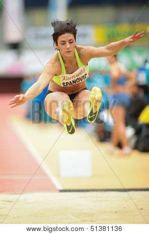 LINZ, AUSTRIA - JANUARY 31 Ivana Spanovic (#505 Serbia) wins the women's long jump event on January 31, 2013 in Linz, Austria.