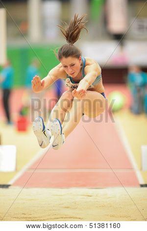 LINZ, AUSTRIA - JANUARY 31 Anna Svecova (#506 Czech Republic) places 6th in women's long jump event on January 31, 2013 in Linz, Austria.