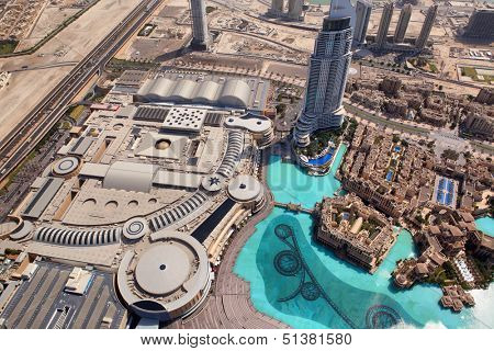 DUBAI, UAE. - OCTOBER 29 : Dubai, the top view on Dubai downtown from the tallest building in the world, Burj Khalifa, at 828m. on October 29, 2012 in Dubai, UAE. Day View