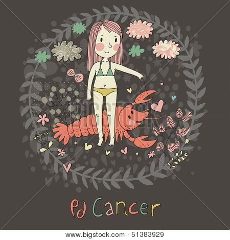 Cute zodiac sign - Cancer. Vector illustration. Little girl feeding big pink crayfish with heart. Background with flowers and clouds. Doodle hand-drawn style in dark colors