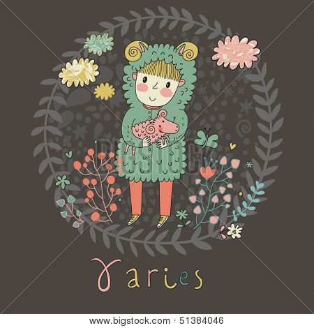Cute zodiac sign - Aries. Vector illustration. Little boy riding with small ram. Background with flowers and clouds. Doodle hand-drawn style in dark colors