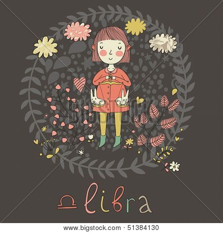 Cute zodiac sign - Libra. Vector illustration. Little girl in flowers. Background with flowers and clouds. Doodle hand-drawn style in dark colors