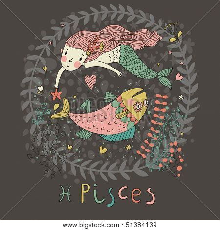 Cute zodiac sign - Pisces. Vector illustration. Little mermaid swimming with big fish with flowers and water plants. Doodle hand-drawn style in dark colors