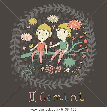 Cute zodiac sign - Gemini. Vector illustration. Little boys playing with birds on the branch in cloud sky. Doodle hand-drawn style in dark colors