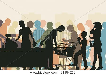 Editable vector colorful illustration of people in checkout queues in a busy supermarket
