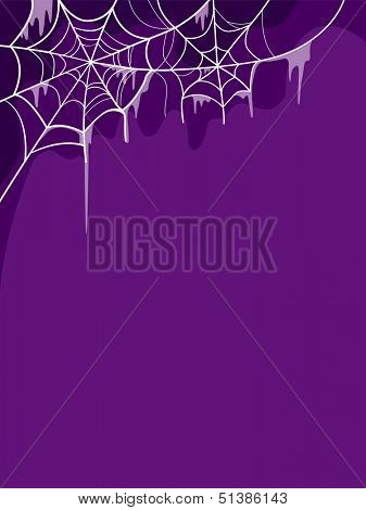 Halloween Illustration Featuring Cobwebs Placed Against a Purple Background