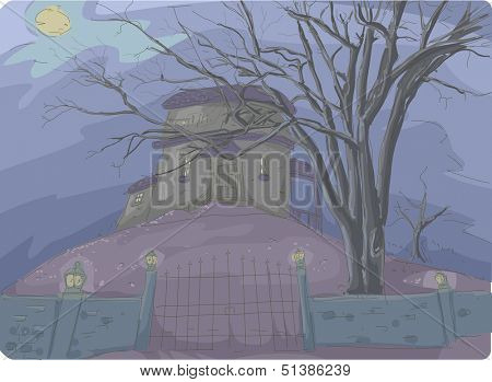 Illustration of a Creepy Haunted House Covered in Thick Mist and Framed by Dead Trees in the Background