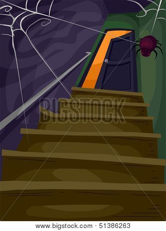 Halloween Illustration of a Flight of Stairs Filled with Cobwebs Leading to a Spooky Attic