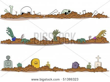 Border Illustration of a Graveyard with Bones, Hands, and Gravestones Protruding from the Ground