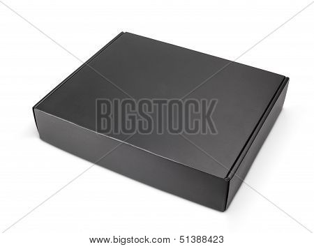 Closed Blank Black Carton Box On White