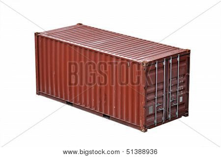 Red Freight Shipping Container Isolated On White