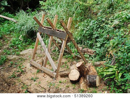 Old Wooden Sawhorse In Forest
