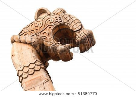 Wooden Forepart Of an Ancient Viking Ship Isolated On White