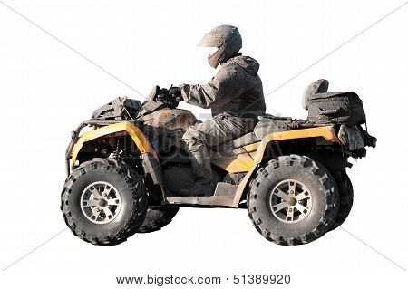 Dirty Off-road Yellow Atv With Rider Isolated On White Background