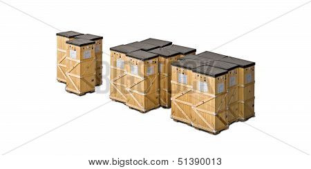 Wooden Freight Shipping Boxes Isolated On White