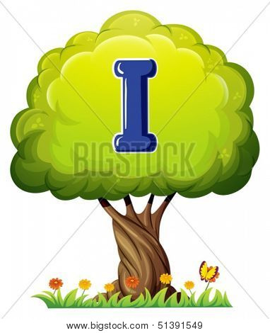 Illustration of a tree with a letter I on a white background
