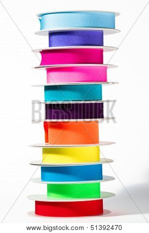 Stack of colorful ribbons