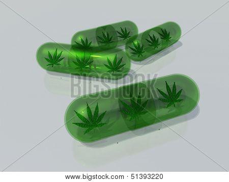 Marijuana leaf in capsule