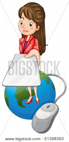 Illustration of a girl above a globe holding a gadget on a white background