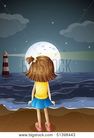 Illustration of a small girl watching the fullmoon at the beach