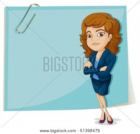 Illustration of a big empty paper with a clip on a white background