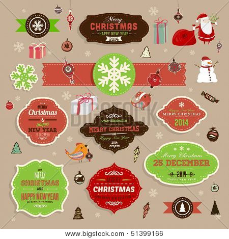 Christmas decoration collection | Set of frames and vintage labels. Ribbons, stickers, Santa and snowman, birds on a fur-tree branches with balls - all for design.