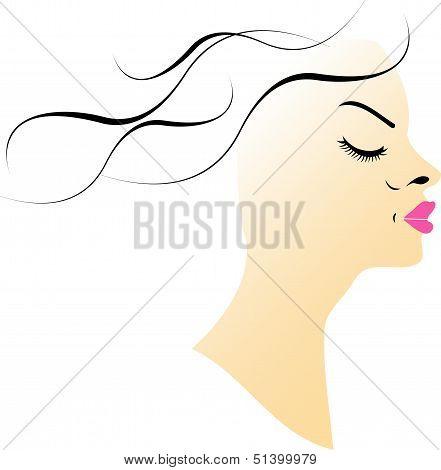 Beautiful Lady wearing a pink lipstick