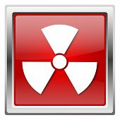 stock photo of radium  - Metallic icon with white design on red background - JPG