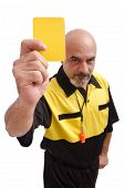 pic of referee  - Isolated referee showing yellow card on white background