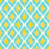 stock photo of tribal  - Modern tribal ikat blue yellow fashion seamless pattern - JPG