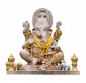 stock photo of laddu  - Hindu God Ganesh over a white background - JPG