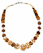 stock photo of tigers-eye  - necklace from natural mineral beads of decorated mother - JPG
