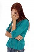 picture of hottie  - Woman stares blankly through her hand lost in thought - JPG