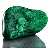 image of malachite  - Polished malachite  isolated on a white background - JPG