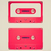 stock photo of magnetic tape  - Vintage looking Magnetic tape cassette for audio music recording  - JPG
