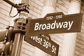 stock photo of broadway  - Corner of the Broadway and West 36th Street sign New York City - JPG