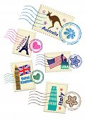 Landmarks stamps set poster