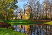 picture of tsarskoe  - Autumn Landscape in Catherine park Pushkin Russia - JPG