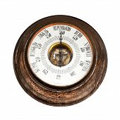 pic of barometer  - Big outdoor vintage barometer with labels in Russian  - JPG